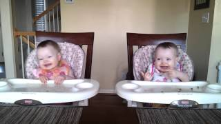 11 Month Old Twins Dancing to Daddy's Guitar thumbnail