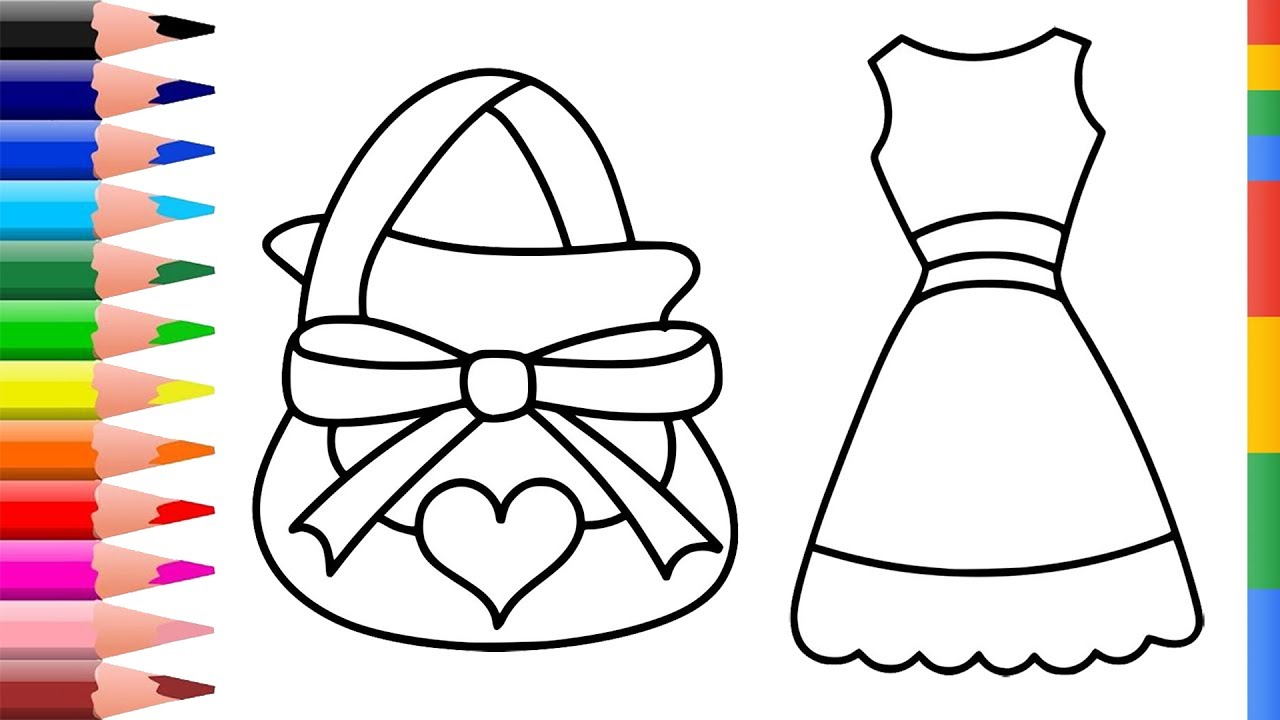 Coloring book bag - Coloring Pages Collection For Kids Drawing Accessories For Girls Coloring Dresses Bag Shoes