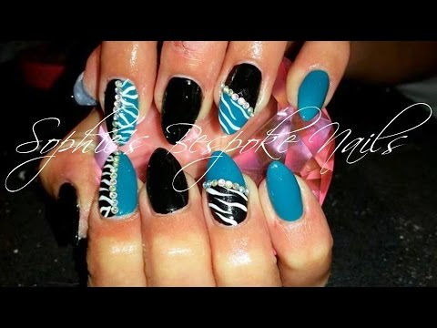 Acrylic nails l teal black zebra l nail design youtube acrylic nails l teal black zebra l nail design prinsesfo Image collections