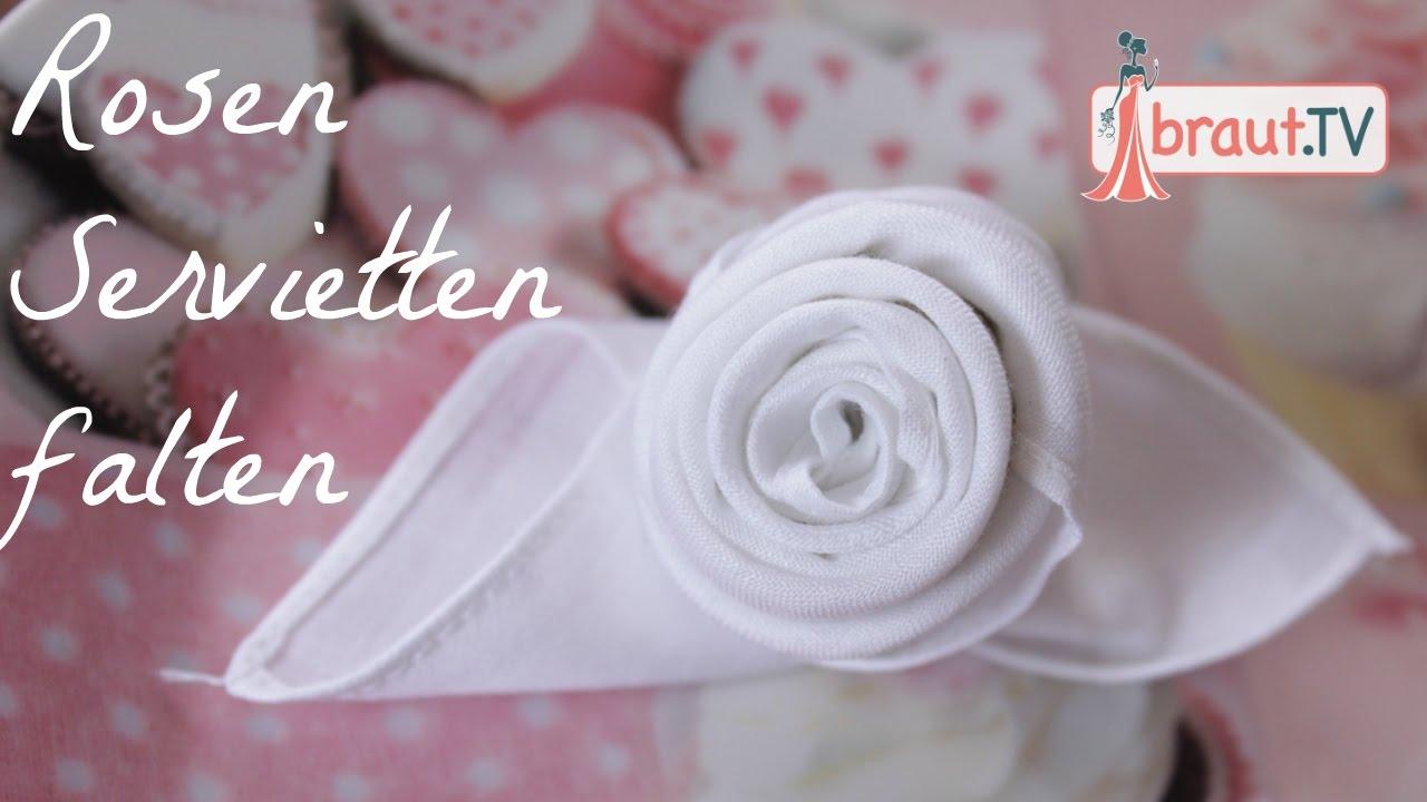 rosen servietten falten hochzeit tischdeko diy braut tv youtube. Black Bedroom Furniture Sets. Home Design Ideas