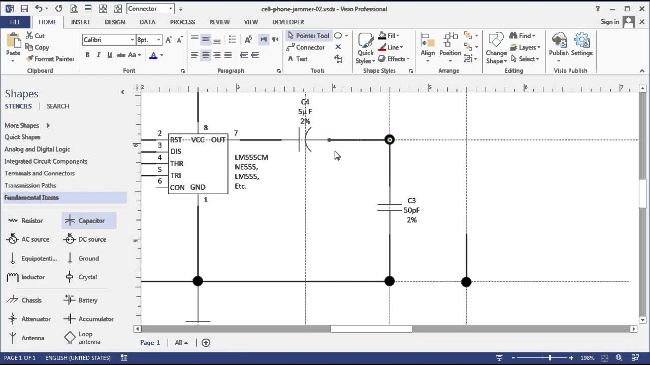 Visio Circuit Diagram Time-lapse: Simple Cell Phone Jammer
