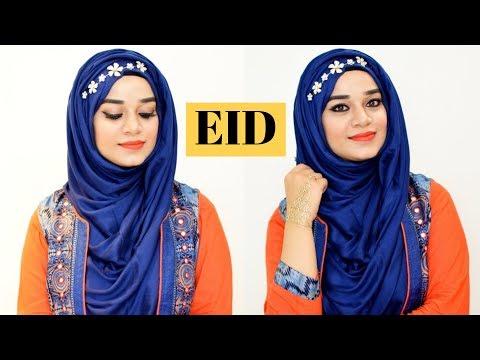 EID MAKEUP LOOK WITH TIARA HIJAB TUTORIAL 2018 | Ramsha Sultan