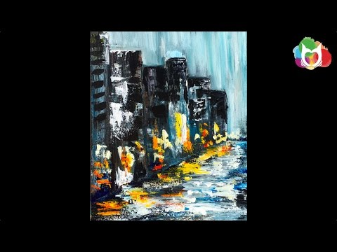 Learn to paint Pallet knife Abstract Rainy Day City Street  Acrylic Painting on Canvas