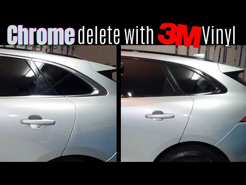 HOW TO BLACK OUT CHROME WINDOW TRIM WITH VINYL | Chrome Delete On Our 2019 Jaguar F-Pace