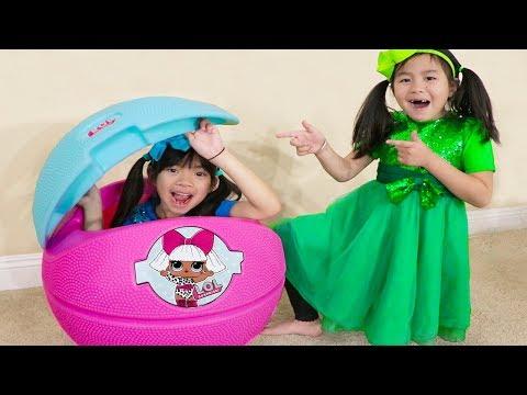 Jannie & Emma Pretend Play w/ Giant LOL Surprise Egg Fun Kids Toys
