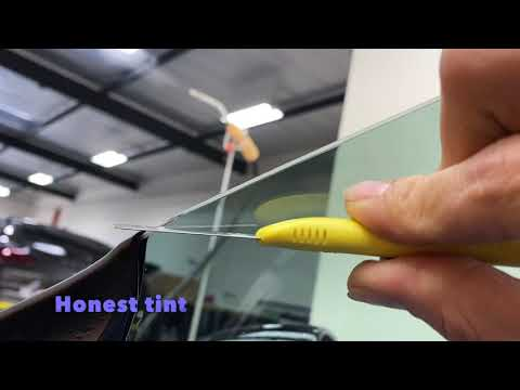 Window tinting | How to shave tint with a blade | ASMR