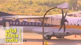 Jet Airways ATR turbo-prop plane at Lengpui Airport - Mizoram