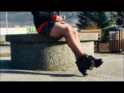 Crossdressing thrill daytime walk in fishnets and mini skirt