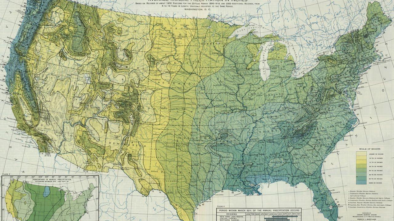 United States Precipitation Map (1916)