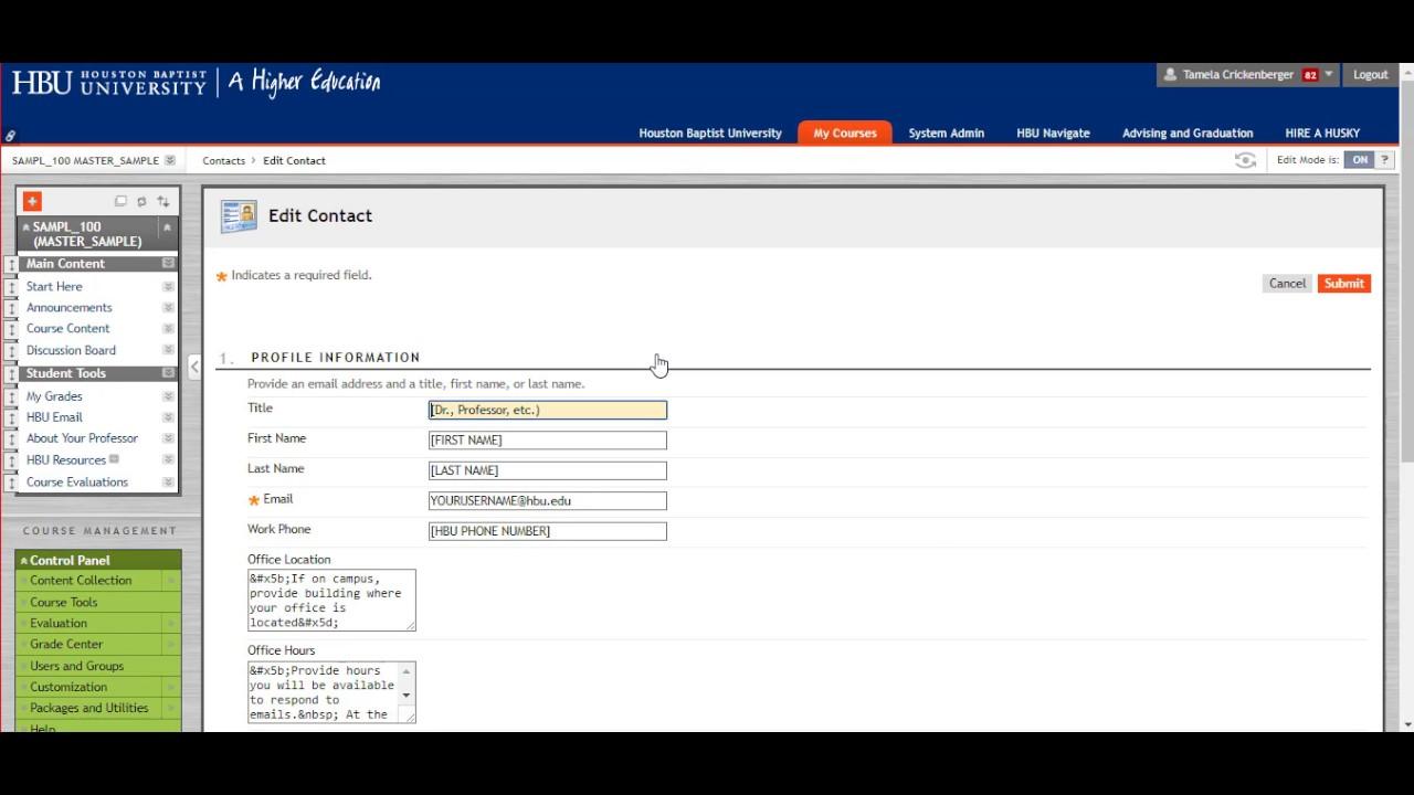 Hbu Blackboard Shell Navigation Youtube