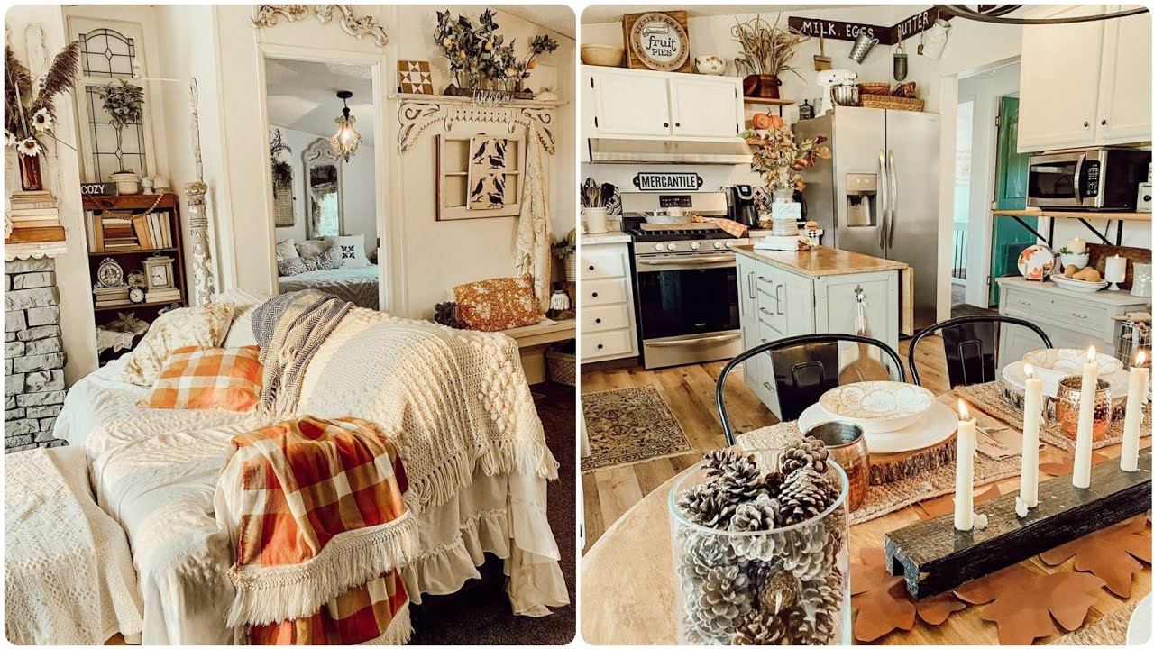 Extreme Budget Farmhouse Tour for Fall // Fall Decorating Ideas in a Stunning Mobile Home Cottage!