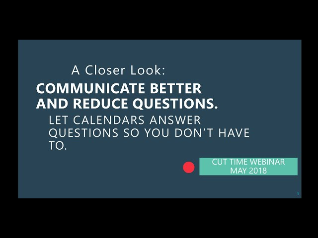 Cut Time Webinar: Calendars and Events