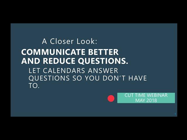 Cut Time Webinar: Calendars and Events