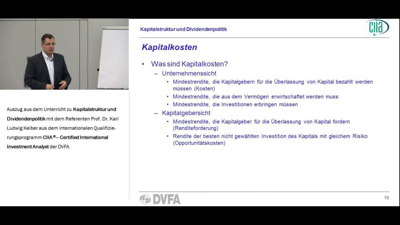 CIIA Unterricht Corporate Finance - Beispiel - YouTube