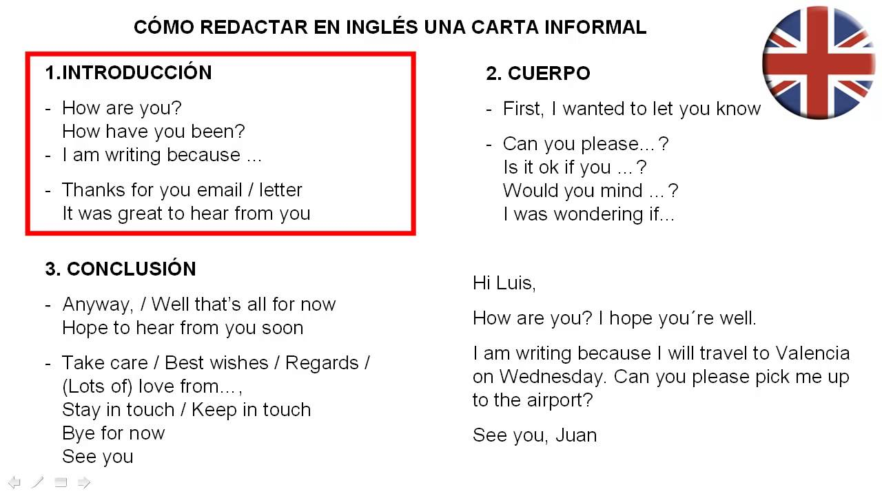 Como Redactar Una Carta Informal En Ingles Youtube