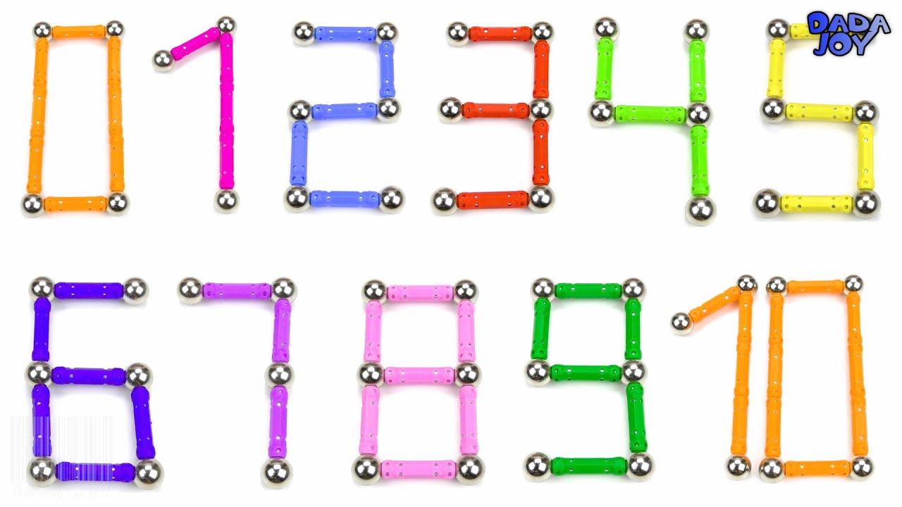 Aprender los números del 1 al 10 | Aprenda colores para niños | Hacer 123 números con magnéticas