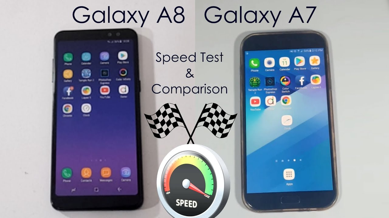 samsung galaxy a8 2018 vs galaxy a7 2017 speed test comparison youtube. Black Bedroom Furniture Sets. Home Design Ideas