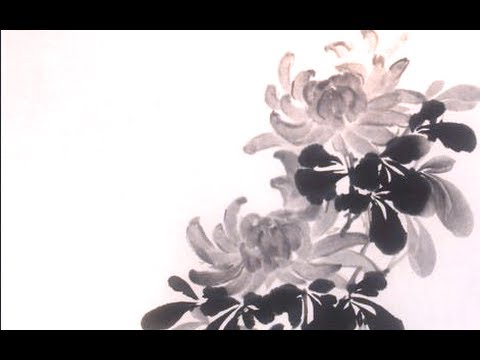 chrysanthemum sumi e painting 菊 youtube