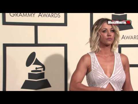Kaley Cuoco arrives at 58th Annual Grammy Awards Red carpet