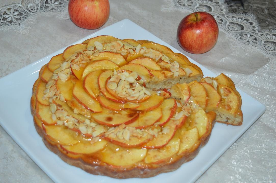 نتيجة بحث الصور عن طريقة تحضير طورطة تفاح