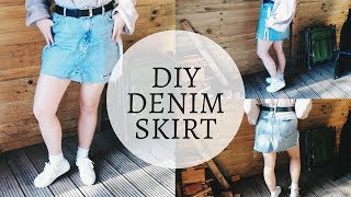 DIY DENIM SKIRT FROM JEANS | Crazeoffashion
