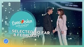 Selected entries so far (Updated 8 February 2018) - Eurovision Song Contest 2018