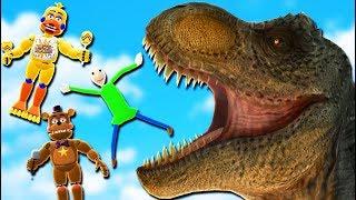 ANIMATRONICS & BALDI BASICS vs JURASSIC WORLD! (FNAF Mods For Kids FNAF RedHatter)