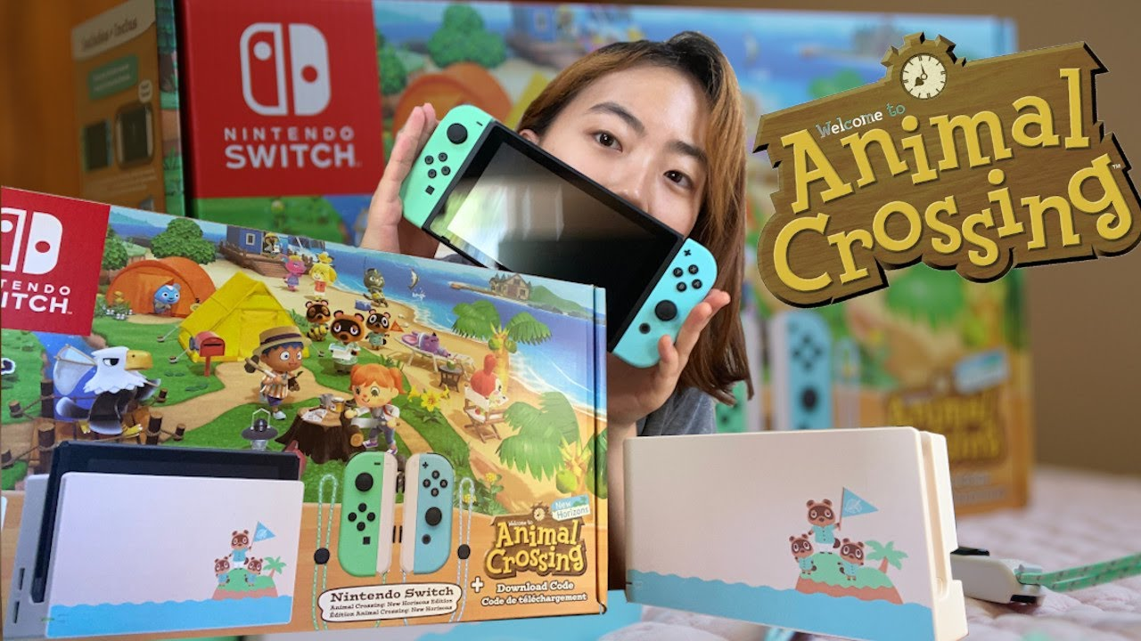 unboxing nintendo switch animal crossing edition 🍃 닌텐도 스위치 ...