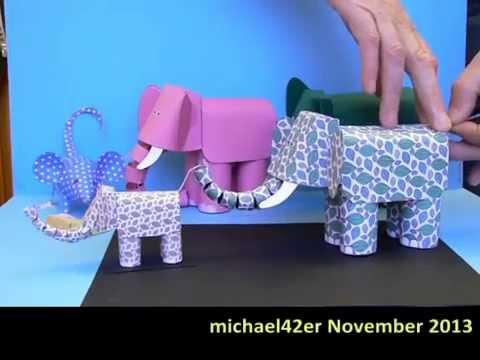 Elephants Herd Movable Paper Models Youtube