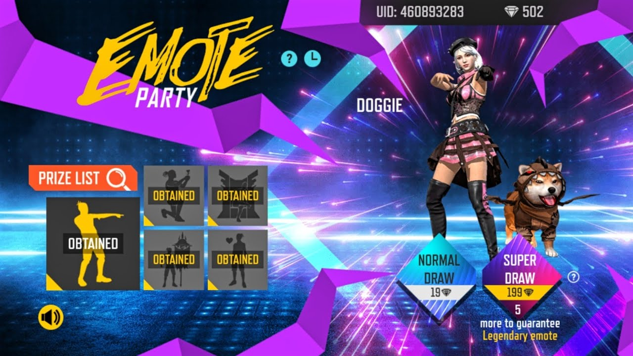 I GOT DOGGY EMOTE & ALL RARE EMOTES FROM NEW EMOTE PARTY EVENT || FREE FIRE NEW EVENT FULL REVIEW