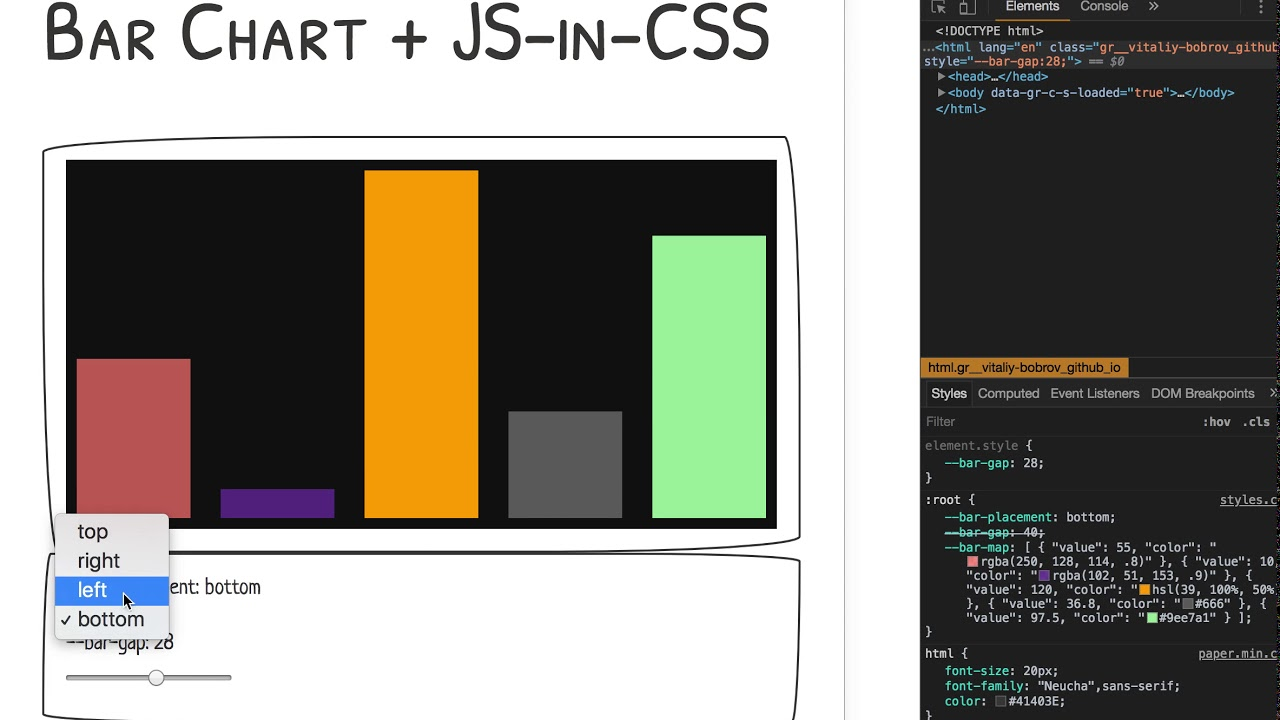 CSS Paint API - Bar Chart + JS-in-CSS