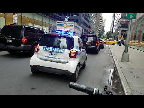 NYPD Traffic Enforcement Smart Car Showing Off Its Light Display In Midtown, Manhattan, New York