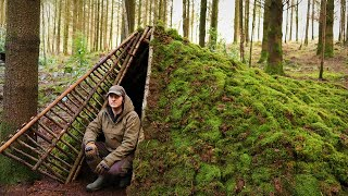 PRIMITIVE MOSS ROOF STEALTH SHELTER - Building A Door To Keep Warm - Bushcraft & Survival Wild Fort