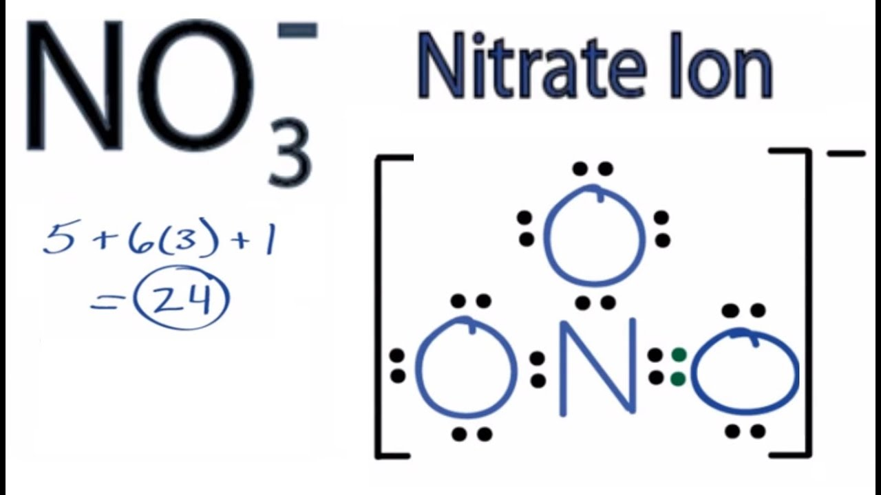 nitrate ion lewis structure how to draw the lewis structure for nitrate ion youtube [ 1362 x 776 Pixel ]