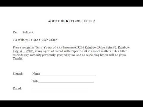 srs insurance agent of record letter