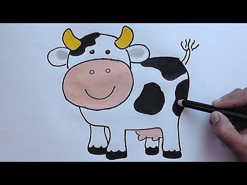 Como dibujar y colorear paso a paso a la Vaca - As drawing and coloring step to Cow