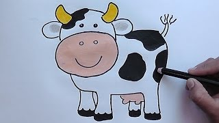 Como dibujar y colorear paso a paso a la Vaca - As drawing and coloring step to Cow
