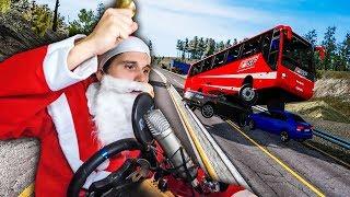 Der Weihnachtsmann hat STRESS mit der Polizei ✪ Fernbus Simulator mit Lenkrad