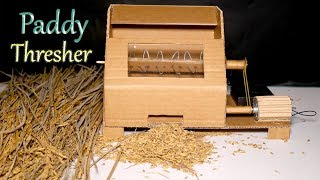 how to Make Rich Thresher Machine from Cardboard | DIY Paddy Thresher | Amazing | Mini Engineer