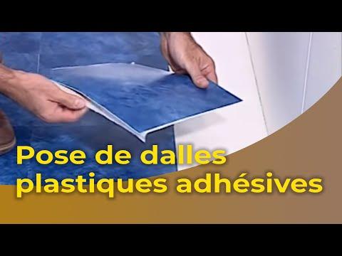 la pose de dalles plastiques adhésives - youtube