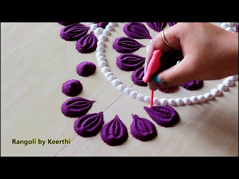 Easy And Quick Rangoli Design For Festivals Using 2 Colours L Muggulu Kolam L Rangoli By Keerthi