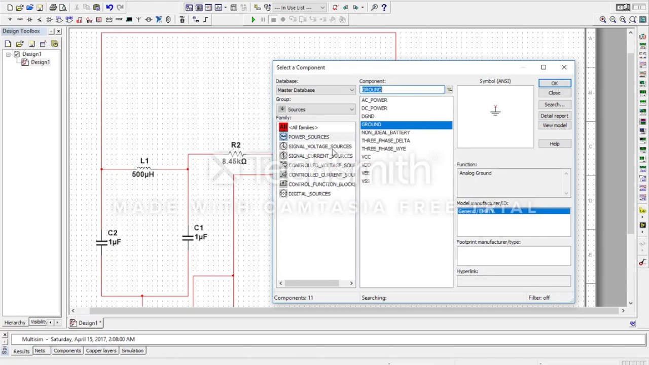 Op-Amp Colpitts Oscillator (Multisim Simulation)