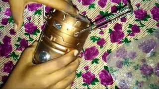 Rechargeable solar camping lantern unboxing and review golden colour