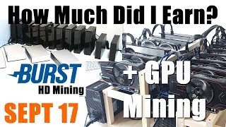 How Much Did I Earn In September? With 115TB Burstcoin & 210 Mh/s GPU Mining Rigs
