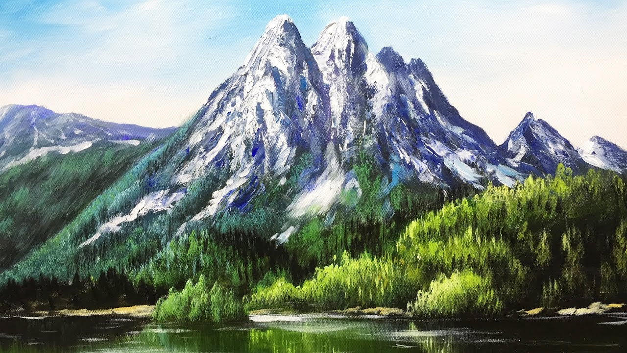 paint mountains with acrylic paints lesson 3 youtube