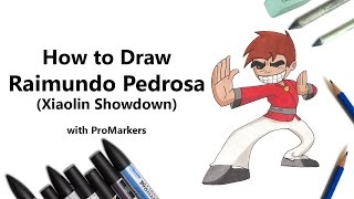 How to Draw and Color Raimundo Pedrosa from Xiaolin Showdown with ProMarkers [Speed Drawing]