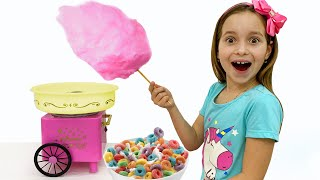 Sofia changes toys for sweets and cotton candy
