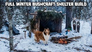 2 Night Winter Bushcraft Camp with My Dog - Complete Shelter Build