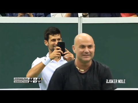 Novak Djokovic & Andre Agassi FUNNY MOMENT - Prague 2018 (HD)