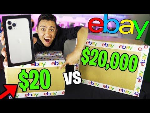 $20 Vs $20,000 EBAY MYSTERY BOX (OMG IPHONE 11 PRO IN A $20 BOX!!) HUGE GIVEAWAY!